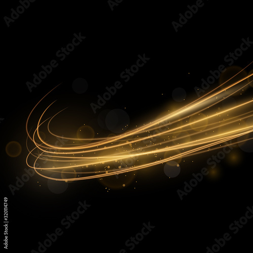 Fototapeta golden abstract transparent light circle effect background, abstract glowing rings obraz na płótnie