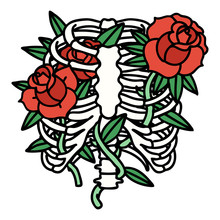Traditional Tattoo Of A Rib Cage And Flowers