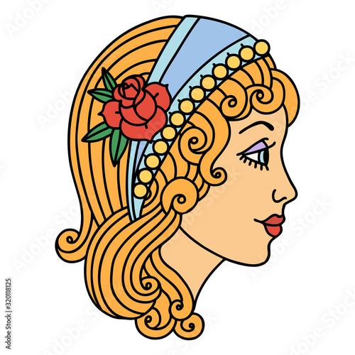 Photo traditional tattoo of a gypsy head