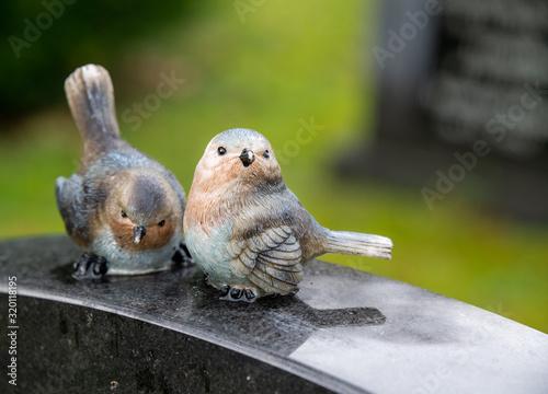 zwei lustige Vögel auf einem Friedhof in Holland Wallpaper Mural