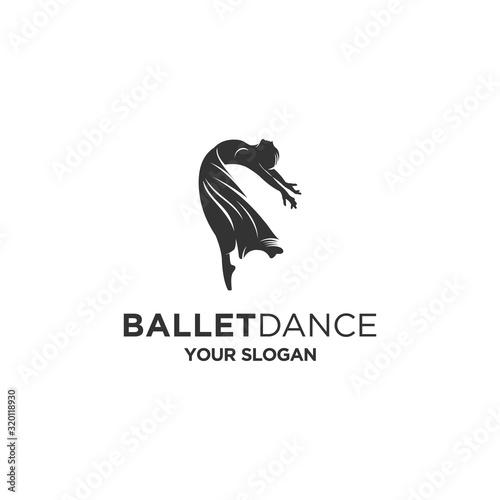 Leinwand Poster ballet dancing silhouette logo