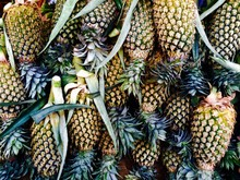 Full Frame Shot Of Pineapples Hanging For Sale At Market