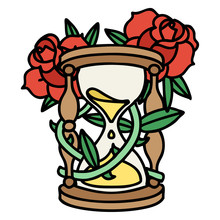 Traditional Tattoo Of An Hour Glass And Flowers