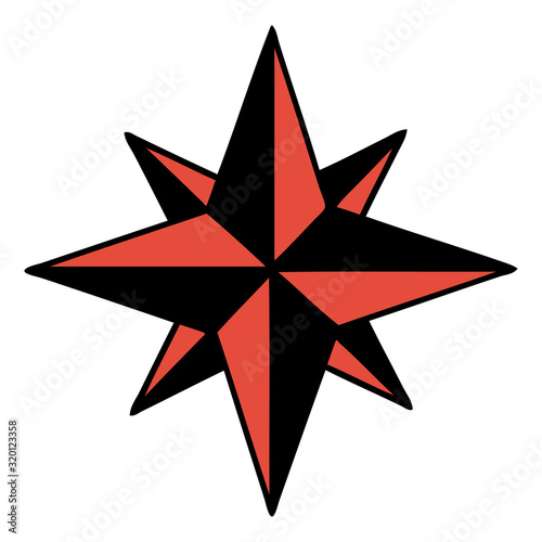 traditional tattoo of a star Wall mural
