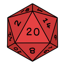 Traditional Tattoo Of A D20 Dice
