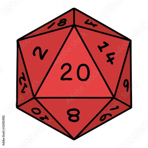 Fototapeta traditional tattoo of a d20 dice obraz