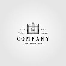 Building Gate Fence Logo Vintage Vector Illustration Design