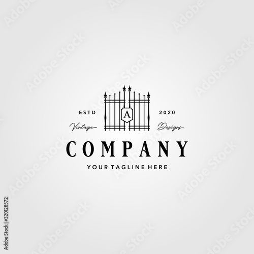 Fotografie, Obraz building gate fence logo vintage vector illustration design