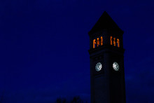 The Great Northern Clock Tower At Night In Riverfront Park In Spokane, Washington USA