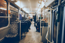 Interior Of A Subway With Peop...