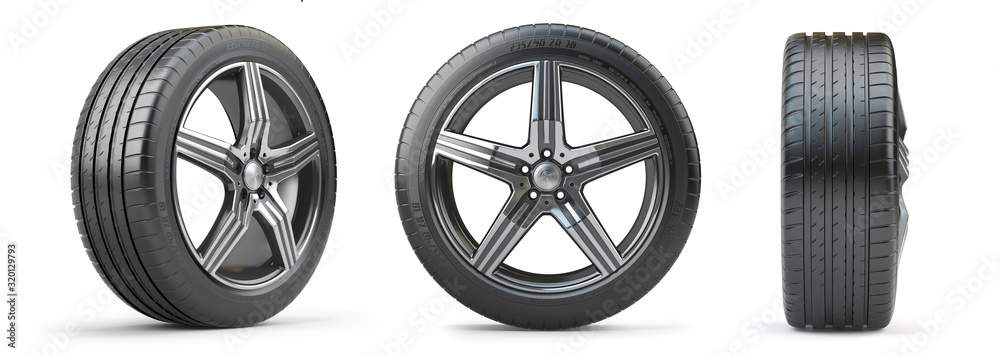 Fototapeta Car wheel on alloy disc with tyre isolated on white. Different points of view.