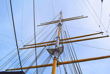 Low Angle View Of Sailing Ship Mast Against Sky