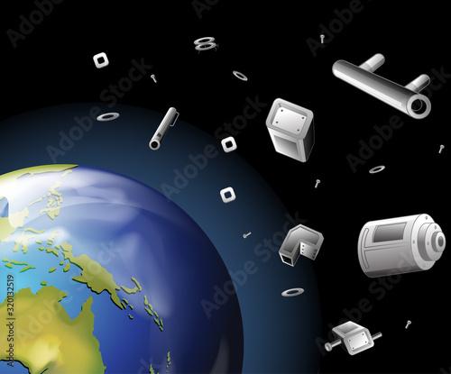 Fototapeta Earth and trash in the space obraz