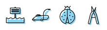 Set Line Ladybug, Blank Wooden Sign Board, Lawn Mower And Gardening Handmade Scissors Icon. Vector