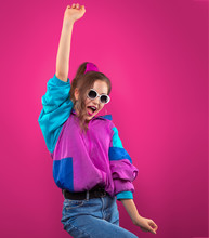 Fashion DJ Girl In Colorful Tr...