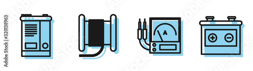 Photo Set line Ampere meter, multimeter, voltmeter, Car battery, Wire electric cable on a reel or drum and Car battery icon