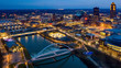 Aerial View of the Des Moines River and Skyline at Night