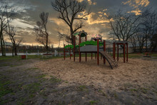 Outdoor Gym Equipment And Children's Playground In The City Of Gniezno On Lake Jelonka, The First Capital Of Poland, Europe, Greater Poland