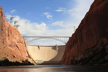 Arch Bridge By Hoover Dam Against Sky
