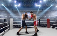 Two Boxers Are Fighting On Professional Boxing Ring.