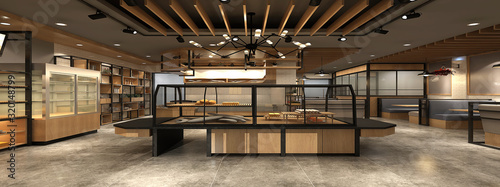 Photo 3d render of bakery house