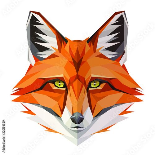 Fox low poly design. Triangle vector illustration Canvas Print