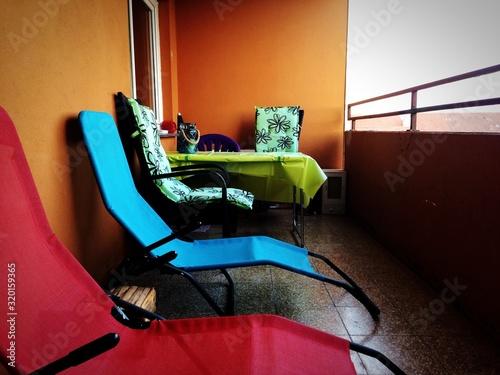 Empty Deck Chairs In Balcony Fototapet