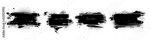 Obraz Abstract grunge with frame. Dirty artistic design elements, boxes, frames for text. Isolated set black splashes on white background. Set of black paint, ink brush strokes, brushes and lines. Vector - fototapety do salonu
