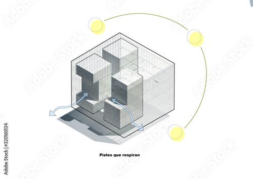 Photo Esquema, representacion, arquitectura, edificio, croquis axonometrica volumetria