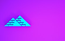 Blue Egypt Pyramids Icon Isolated On Purple Background. Symbol Of Ancient Egypt. Minimalism Concept. 3d Illustration 3D Render