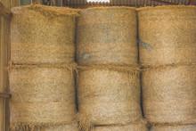 CLOSE-UP VIEW OF Hay Bales