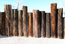 Seaside Beach Wooden Poles Fence