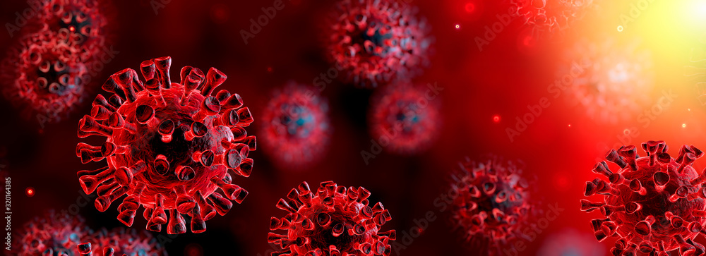 Fototapeta Corona Virus In Red Background - Microbiology And Virology Concept - 3d Rendering