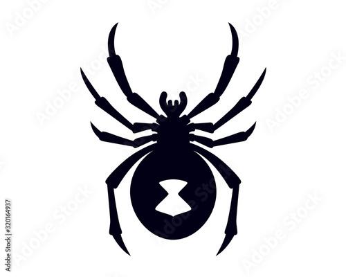 Black Widow Spider Silhouette Vector Illustration Wallpaper Mural