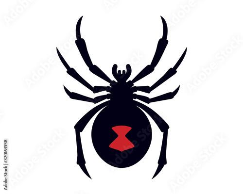 Photo Black Widow Spider Silhouette Vector Illustration