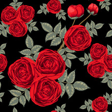 Seamless Pattern Beautiful Red Rose Flowers On Dark Blue Abstract Background.Vector Illustration Dry Watercolor Hand Drawing Line Art Style.For Fabric Design