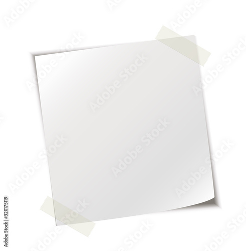 Photo Notiz Blatt mit Klebeband befestigt, Vektor Illustration isoliert auf weißem Hin