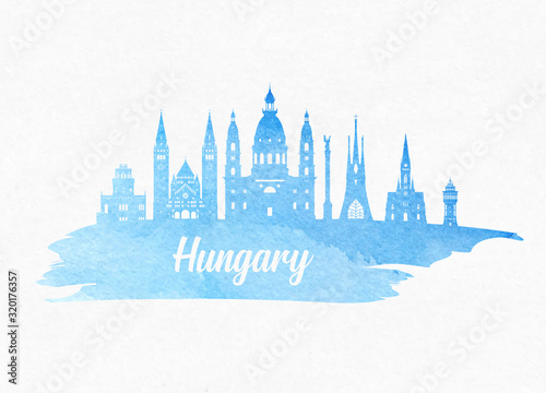 Hungary Landmark Global Travel And Journey watercolor background Canvas