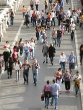 High Angle View Of People Walking On Ponte Santangelo Bridge