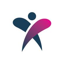 People Letter X Color Logo Design