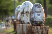 Egg Shape Stone Sculptures On ...