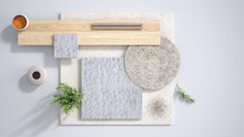 Minimal White Background With Copy Space, Marble Limestone And Granite Slabs, Wooden Plank, Cutting Board, Rosemary And Pepper And Decors. Kitchen Interior Design Concept, Mood Board