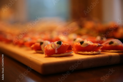 Fotografering Close-Up Of Sushi Served On Table
