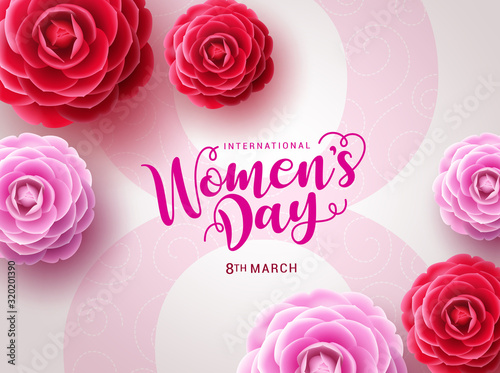 Obraz Women's day vector design. March 8 international woman's day celebration text with camellia flowers in big pink eight in white feminine background. Vector illustration  - fototapety do salonu