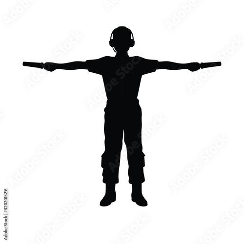 Obraz na plátně Aviation Marshaller silhouette vector / Supervisor meets passenger airplane at the airport