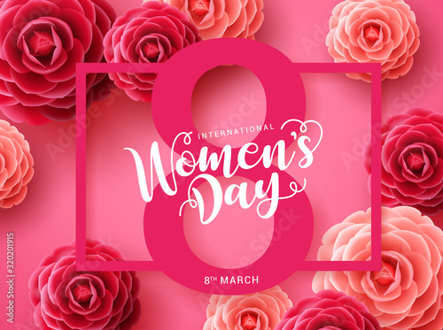 Obraz Women's day vector concept design. March 8 greeting text with pink frame and camellia flowers background for international women's day. Vector illustration - fototapety do salonu