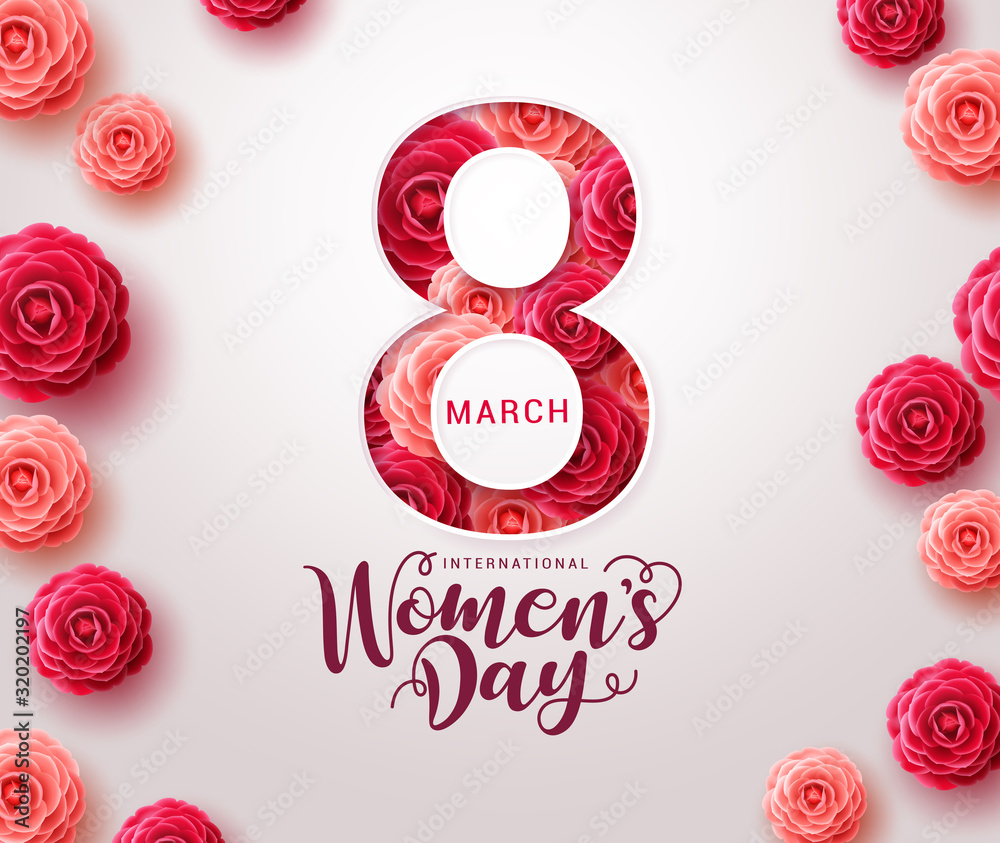 Fototapeta March 8 women's day design. Women's day vector concept design for international woman celebration with camellia flowers background. Vector illustration