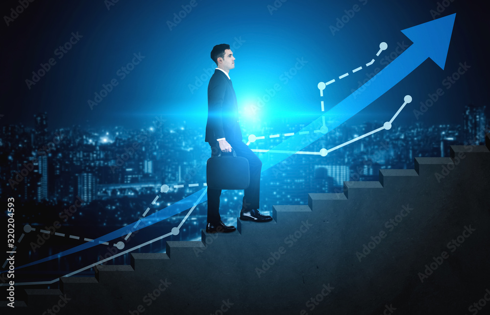 Fototapeta Business man climbing up stair steps to career success with business district and horizon skyline as background. Concept of business goal success, growth of career path and starting up a new business.