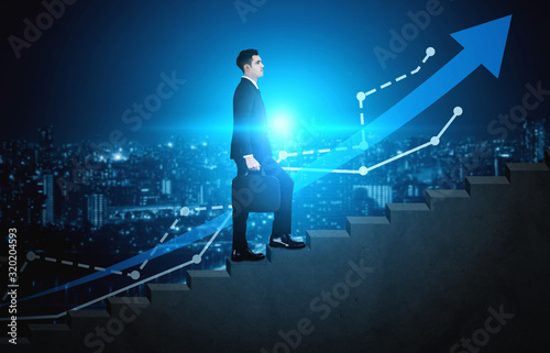 Fotografía Business man climbing up stair steps to career success with business district and horizon skyline as background
