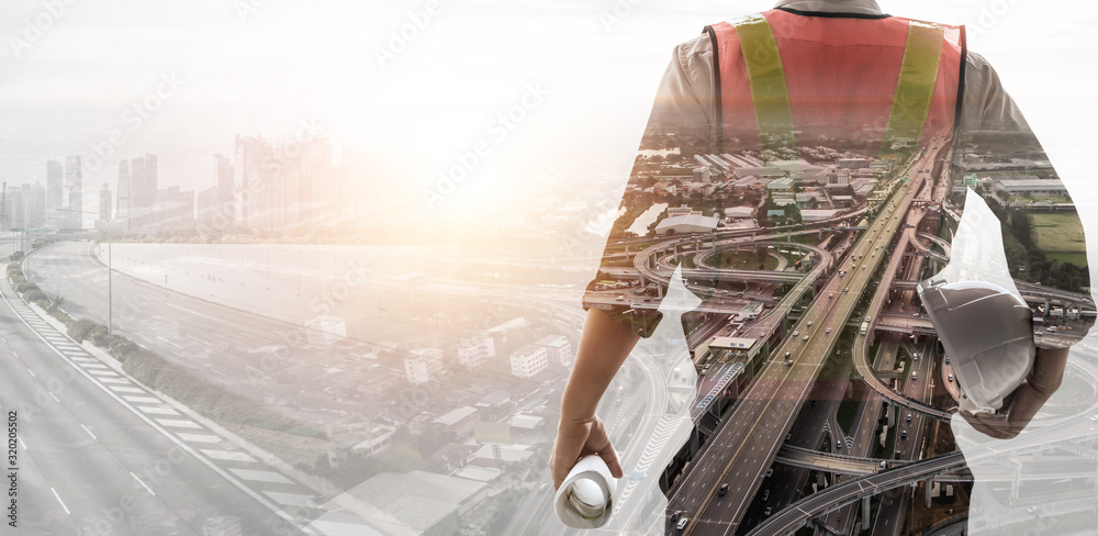 Fototapeta Future building construction engineering project concept with double exposure graphic design. Building engineer, architect people or construction worker working with modern civil equipment technology.